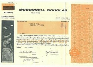 RARE McDonnell Douglas Common Stock Certificate (60) Shares May 1996 (Unsigned)