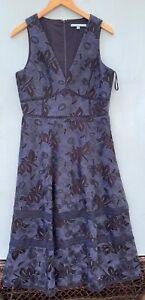 Antonio Melani Lace Dress 10 Navy Blue Midi Sleeveless V Neck Cocktail Party