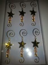 SET OF 6 GOLD & CLEAR OLD WORLD CHRISTMAS BEADED STAR BRASS ORNAMENT HOOKS 14101