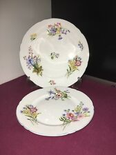 2 X Shelley Wild Flowers 13668 Plates 1 Salad 20.5 Cm 1 Side Plate 17.5 Cm