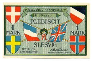 Denmark City Broager Plebiscit Schleswig-Holstein Notgeld 1 Mark 1920 AU/UNC