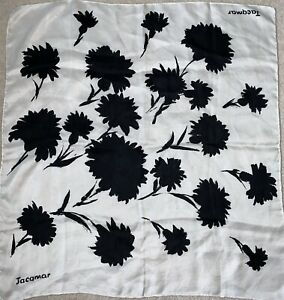 Vintage Jacqmar Floral White and Black Abstract Flowers Silk Small Neck Scarf