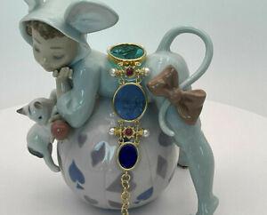 TAGLIAMONTE Designs (HQ018) 925SS/YGP Venetian Cameo Bracelet *Rubies+ Pearls*