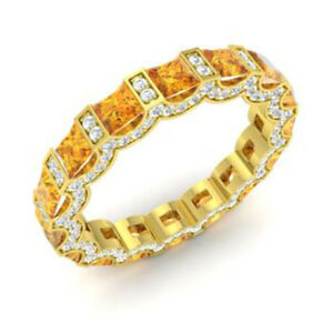 3.88 Ct Certified Diamond Citrine Band 14K Solid Yellow Gold Ring Size M N J I O