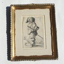 Antique Baroque Engraving Jacques Callot 1592-1635 La Gentil Homme Original