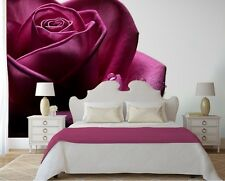 Grande photo papier peint chambre & salon mural nature violet fleur rose