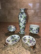 Lot Radfords Fenton Bone China Hand Painted Violets Signed Spoon Rest Vase More!