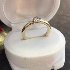 Solitär Brillantring runde Schiene 585er Gold Ring Brillant ca. 0,24 ct Gr, 52
