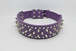 PURPLE Metal Spiked Studded Leather Dog Collar Pit Bull Rivets L XL Large Breeds