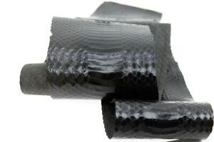 Asia Cobra Snake Skin Back Hide Leather Snakeskin Craft Supply Glossy Black