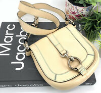 Marc Jacobs Authentic Cream Leather Crossbody Buckle Bag Teal Stitch Italy $995