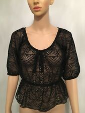 Rue 21 Black Half Sleeve Lace Top Size M