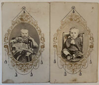 2~CDV Civil War Era Revenue Stamps Young Siblings Victorian Oval Filigree Frames