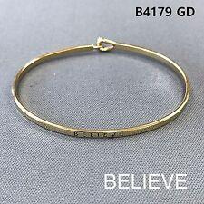 Engraved Brass Simple Bangle Bracelet Gold Finished Believe Statement Message