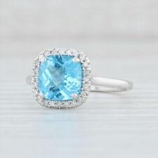 New 2.64ctw Blue Topaz Diamond Halo Ring - 14k White Gold Size 7.5