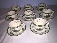 """Spode """"Christmas Tree"""" Cups and Saucers (8 Sets) ~ Made in England"""
