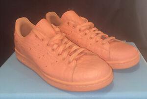 Men's Adidas Stan Smith Peach Crocodile Leather Sneakers Size 8.5