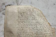 Large c1500 handwritten medieval manuscript parchment fragment DAMAGED original