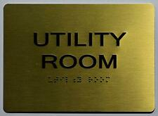 New listing Utility Room Sign - Gold(Aluminium, Gold/Black,Size 5x7).(ref1820)