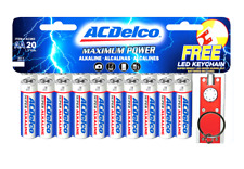 Acdelco Aa Super Alkaline Batteries, 20 Count and Bonus Led Keychain 20-Count