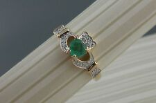 Irish 14K  Gold Emerald & Diamond Claddagh Engagement Ring Ireland Shanore