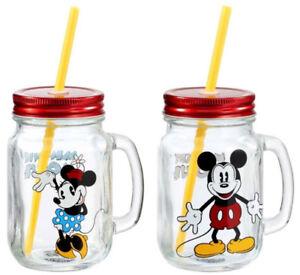 Disney Mickey Mouse & Minnie Mouse Mason Jar Glass Dual Pack