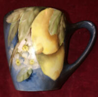 "Gorgeous Coffee/ Tea Mug"" Le Seynie"" Limoges France Hand Painted Lemon & Blossom"