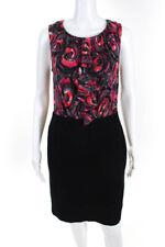 Trina Turk  Womens Sleeveless Dress  Black Fuschia Abstract Print Silk Size 6