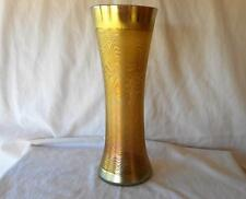 """LCT LC Tiffany Glass Gold Aurene Favrile Large Etched Pattern Vase 11 3/4"""""""
