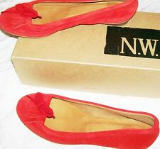 NW3 Hobbs Moccasin Pump red suede leather flats with box Size 38 or UK 5 vgc