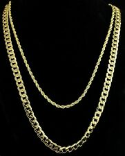 """2pc Set 24"""" 30"""" Cuban/Rope Chains 14k Gold Plated Hip Hop Necklaces"""