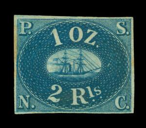 PERU 1857 PACIFIC STEAM NAVIGATION Co  2R blue  Sc# 2a REPRINT- Only 800 printed