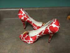 HELLO KITTY Peep Toe High Heels With Red Hearts Size 9 (CON29)