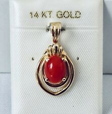 14K Yellow Gold Genuine Natural Red Coral Oval Cabochon Pendant NEW