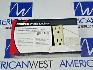 NEW COOPER 1107V GROUNDING DUPLEX RECEPTACLE 15A 125V NEW BOX OF 10