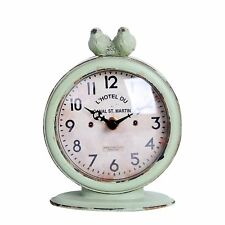 "Nikky Home Shabby Chic Pewter Round Quartz Table Clock with 2 Birds, 4.75"" x"