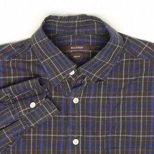 Billy Reid Orleans Mens Dress Shirt M Dark Brown Blue Beige Plaid Check Cotton