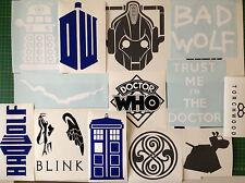 Dr Who Sticker Set Of 12 Vinyl Decal Stickers Tardis Dalek BadWolf K9 Gallifrey