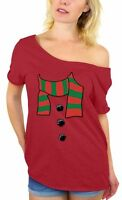 Snowman Scarf Off Shoulder top T-SHIRT Ugly Christmas Xmas + Gift