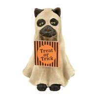 Trick or Treat Ghost Cat Vintage Style Halloween Figurine Decor Bethany Lowe