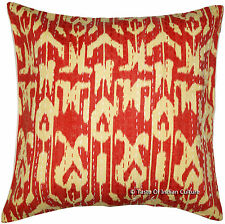 """Indian 16"""" Red Ikat Cushion Pillow Cover  Kantha Embroidered Throw Home Decor"""