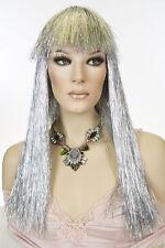 Silver Tinsel Long Straight Costume Fun Color Wigs