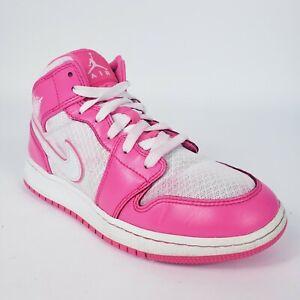 Nike Air Jordan 1 Mid Hyper Pink White GS 555112-611 Grade School Size 6Y