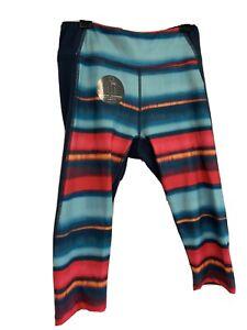 Northface NWT girls L 14/16 capri FlashDry leggings Navy Stripes
