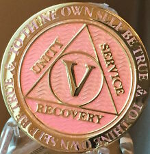5 Year AA Medallion Pink Gold Plated Alcoholics Anonymous Sobriety Chip Coin V