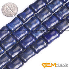 Blue Lapis Lazuli Gemstone Bamboo Beads For Jewelry Making Strand 15