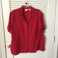 Bobby Brooks Short Sleeve Red Button Front Shirt, Sz 22W/24W
