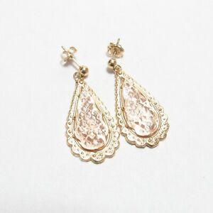 Estate 14K Yellow And Rose Gold Flower Dangle Earrings