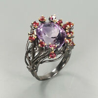 Natural Amethyst 925 Sterling Silver Ring Size 8/RR17-1928