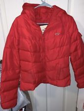 Hollister Sz Large Red Hooded Full Zip Fitted Quilted Puffer Jacket